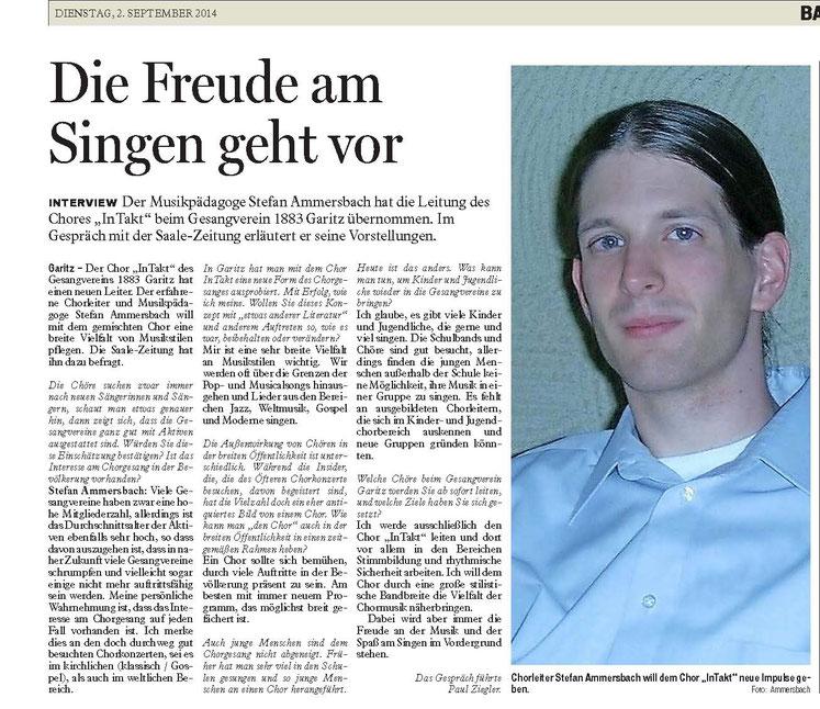 Zeitungsbericht der Saale-Zeitung vom 02.09.2014