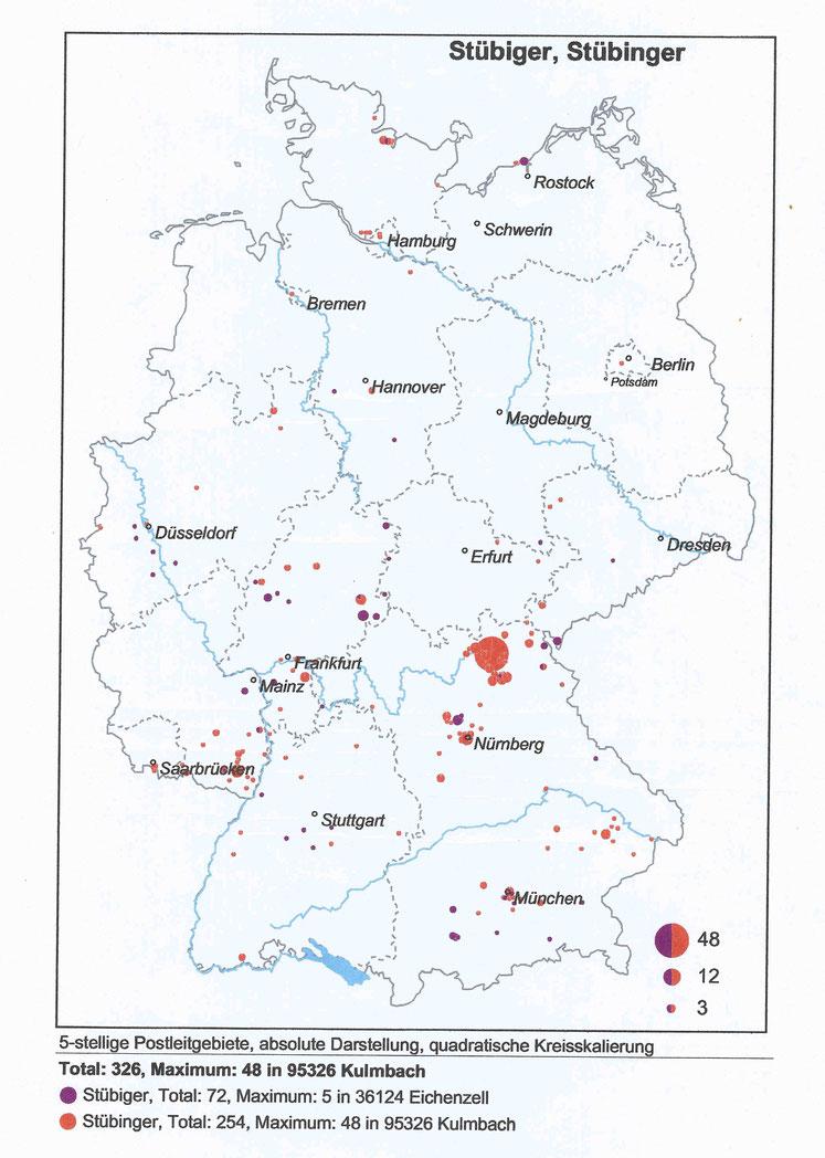Namensverteilungskarte, Stand 2007, erstellt und überlassen von Dr. Dr. Volkmar Hellfritzsch, Stollberg