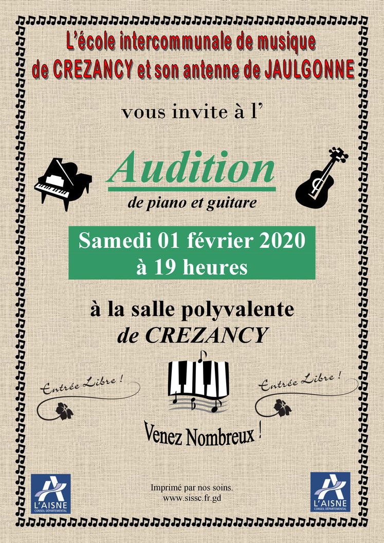 Audition de panio et guitare