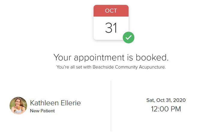 Beachside Community Acupuncture PLLC online scheduler screenshot of appointment confirmation
