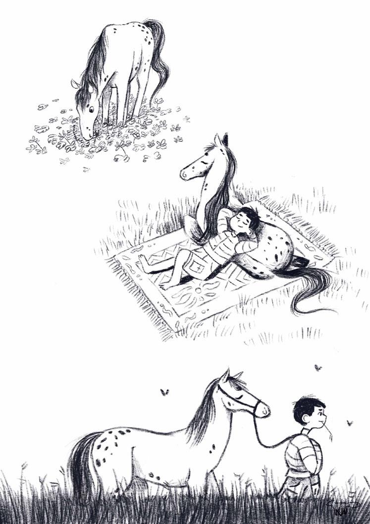 Skizze Schwarz Weiß Junge Mareike Ammersken Zeichnung