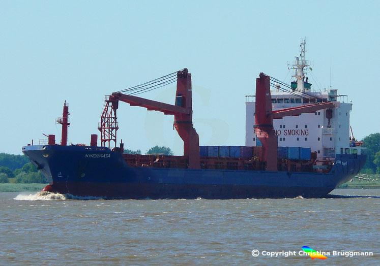 Schwergutfrachter KHERRATA auf der Elbe, 01.07.2018