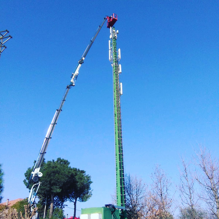 Noleggio camion gru e piattaforma per palo telefonia Santarcangelo