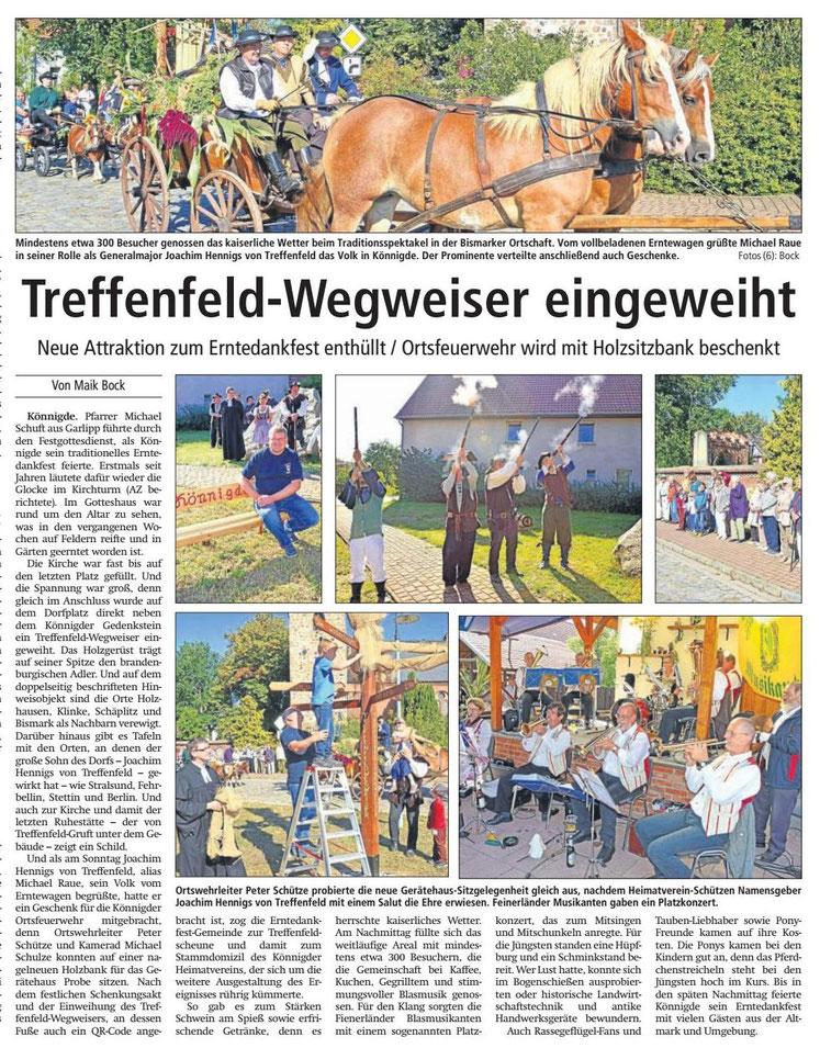 Altmark-Zeitung, Sept. 2016, von Maik Bock