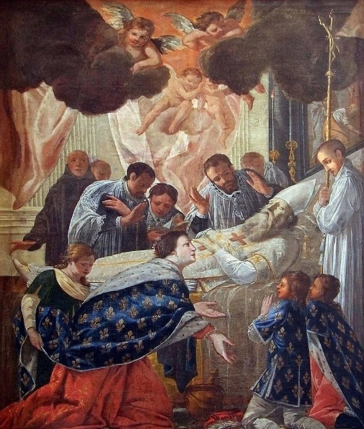 Balthild am Totenbett des heiligen Eligius, Gemälde von Jean Senelle 1648