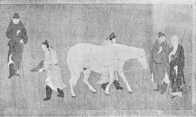 Personnages examinant un cheval. Gaston MIGEON (1860-1930) : Observations sur la peinture chinoise Revue de l'art ancien et moderne, Paris. Tome 49, 1926.