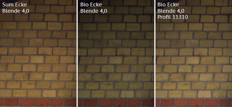 Vergleich Bildecke bei Blende 4,0: Summicron-M 2,0/35mm Asph. vs. Biogon ZM 2,0/35mm ohne/mit Profil. Foto: Klaus Schoerner