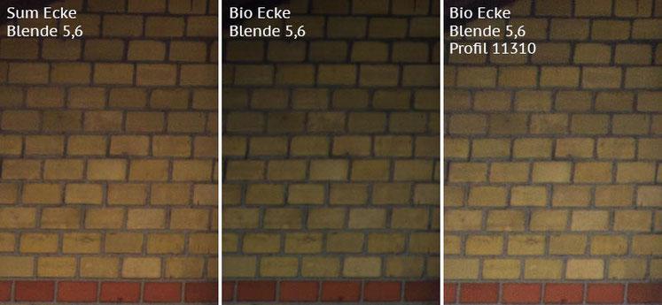 Vergleich Bildecke bei Blende 5,6: Summicron-M 2,0/35mm Asph. vs. Biogon ZM 2,0/35mm ohne/mit Profil. Foto: Klaus Schoerner