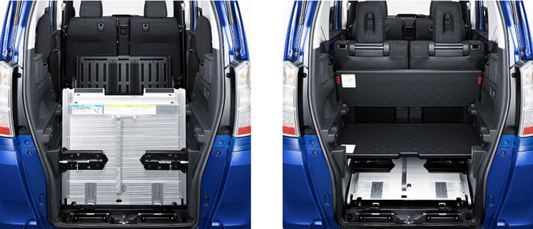 3段引き出し式。荷物の大きさに応じて開口部に立てて固定する事ができる。床に倒して収納するも可能。