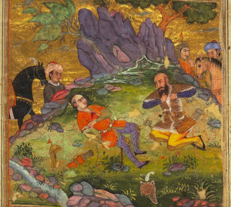 Rostam, distrutto dal dolore, piange accanto al corpo di Sohrab, illustrazione dal poema epico Shahnameh