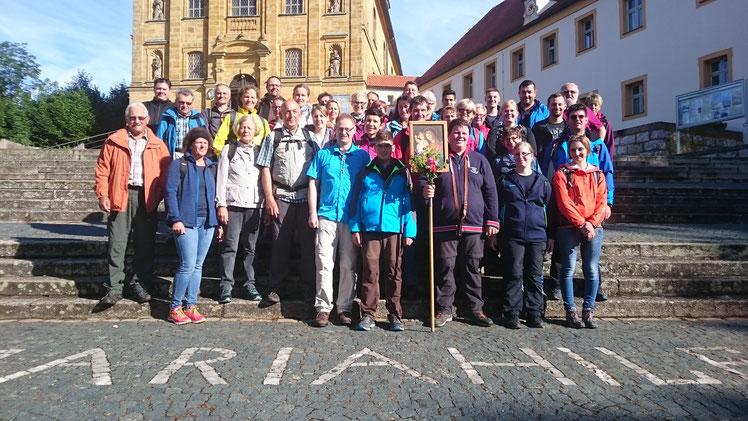 Teilnehmer an der Fußwallfahrt 2017 kurz nach der Ankunft am Maria-Hilf-Berg in Amberg