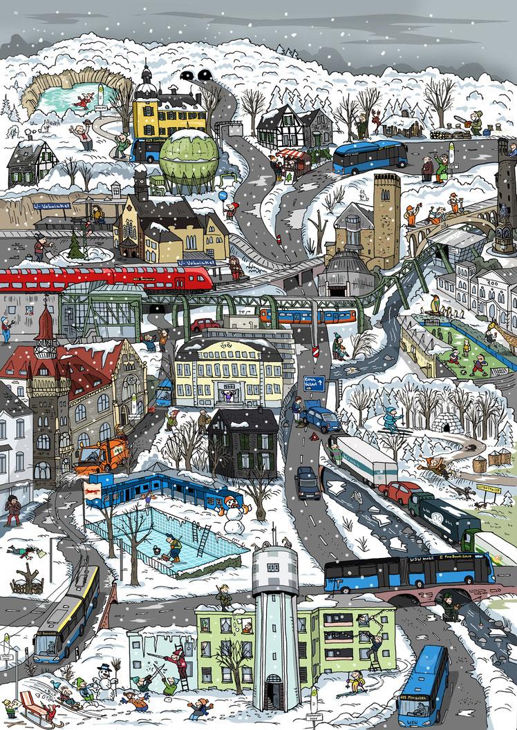 Stadt-Wimmelbild: Winter in Wuppertal