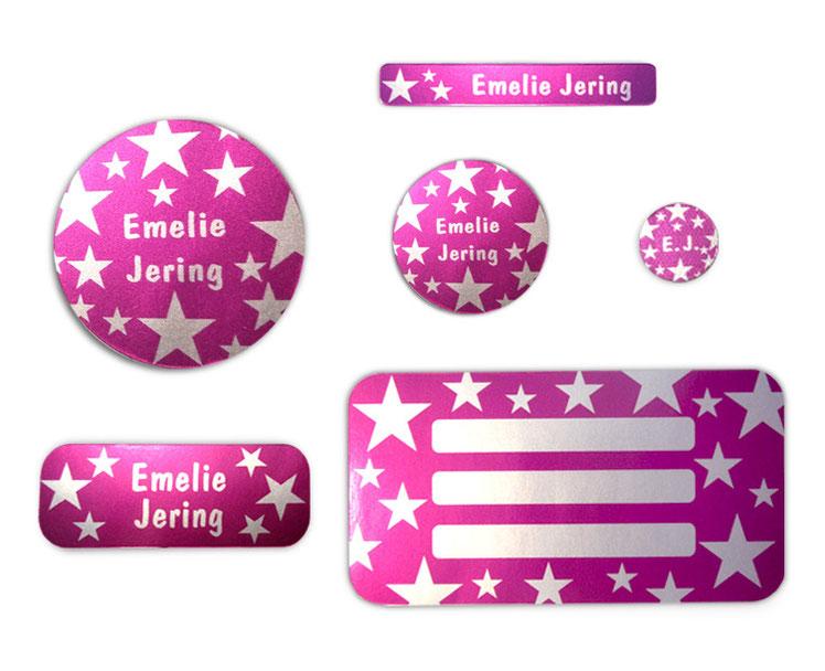 Silbermetallic Schulaufkleber-Set: Sterne pink, mit verschiedene Namensaufkleber, Stifteaufkleber, Heftaufkleber