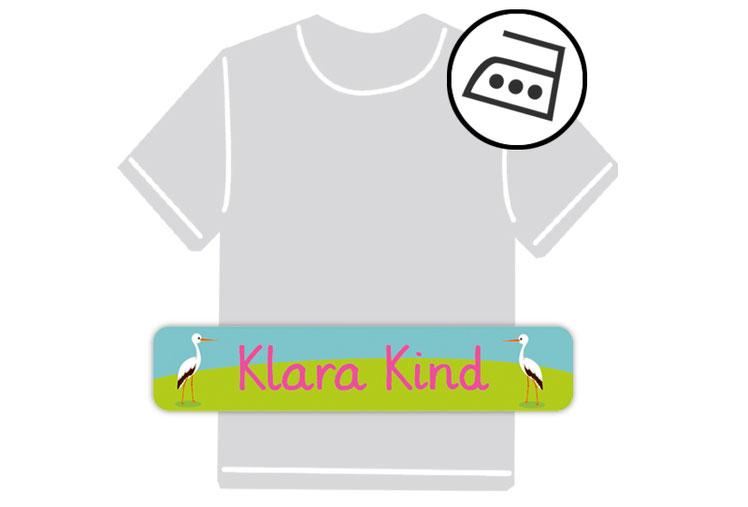 dauerhafte Bügeletiketten mit Namen für Kindergarten u. Schule - PVC frei -  Motiv: Storch