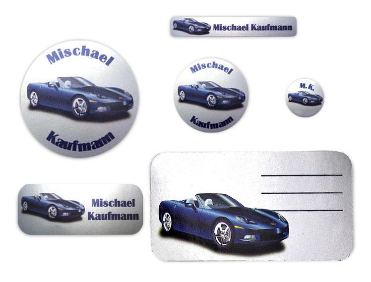 Silbermetallic Schulaufkleber-Set: Sportwagen, mit verschiedene Namensaufkleber, Stifteaufkleber, Heftaufkleber