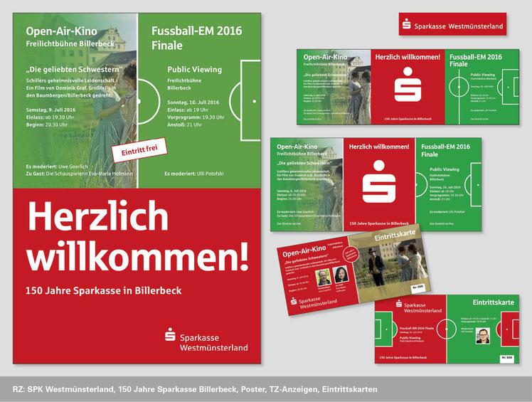 Sparkasse Westmünsterland, Neuentwicklung, Plakat, Anzeigen, Eintrittskarten, 150 Jahre Sparkasse Billerbeck
