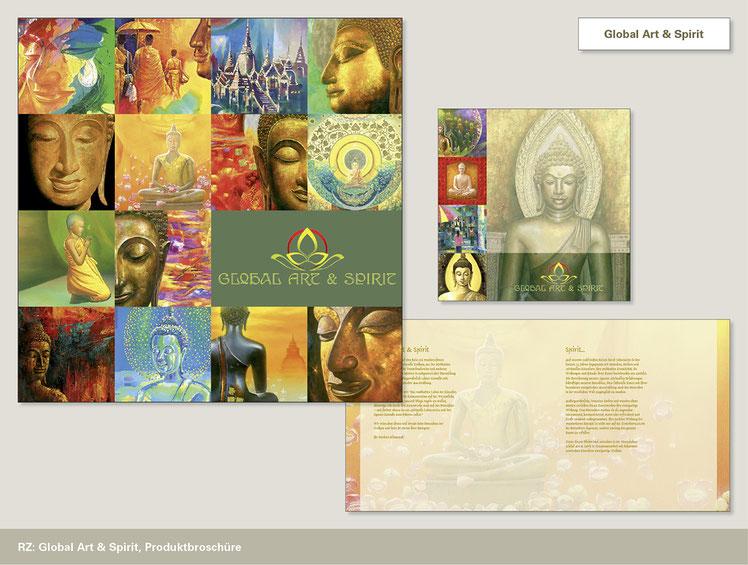 Image Design für Global Art & Spirit. Gestaltung einer Produktbroschüre von Funkenflug Design aus Münster.