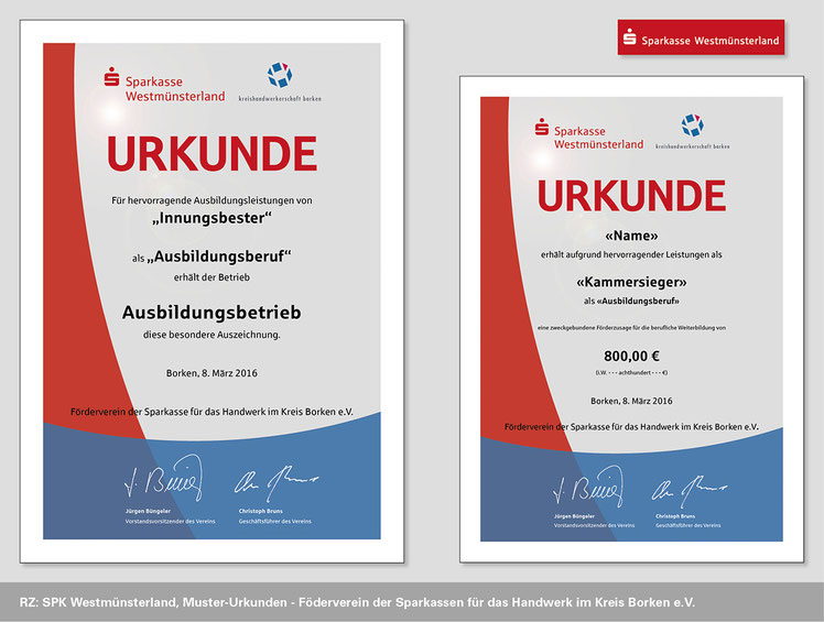 Image Design, Sparkasse Westmünsterland, Urkunden für den Förderverein der Sparkassen. Funkenflug Design Münster.