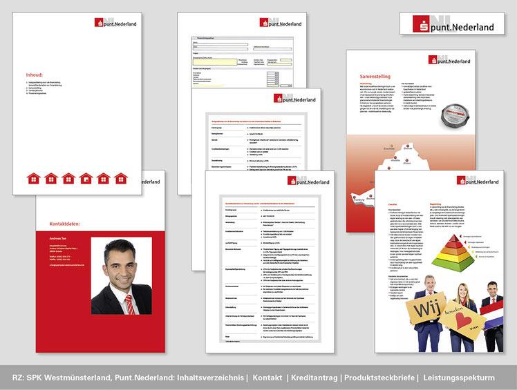 Sparkasse Westmünsterland, Punt.Nederland, Inhaltsverzeichnis, Kontakt, Kreditantrag, Prokuktsteckbriefe, Leistungsspektrum