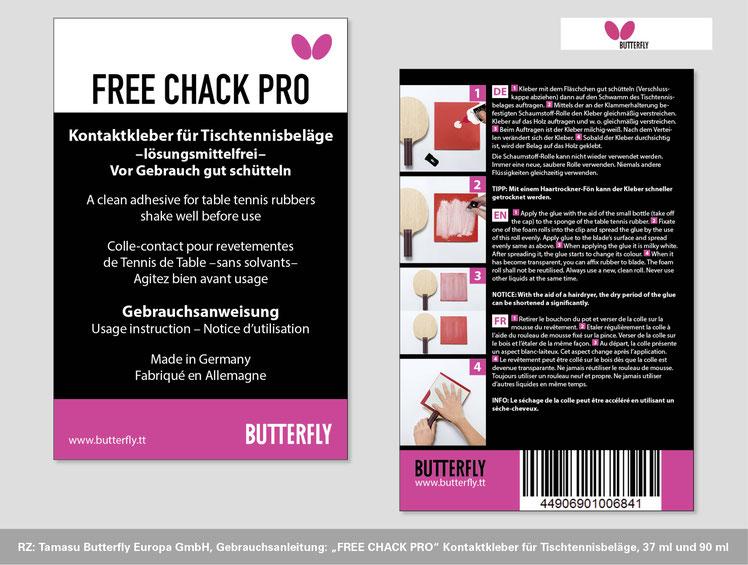 Image Design. Neugestaltung Gebrauchsanweisung FREE CHACK PRO Kontaktkleber für Tamasu Butterfly Europa GmbH. Funkenflug Design Münster.