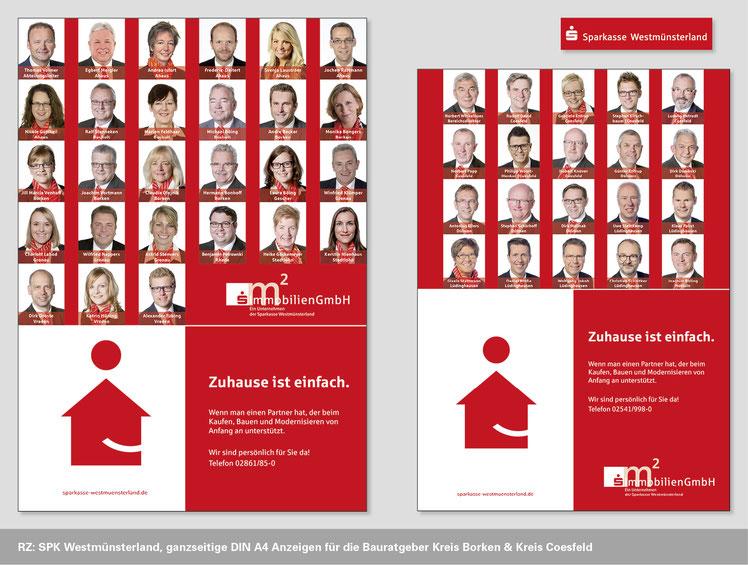 Image Design für die Sparkasse Westmünsterland, Anzeigen Bauratgeber Kreis Borken, Kreis Coesfeld. Funkenflug Design Münster.