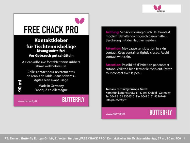 Tamasu Butterfly Europa GmbH, Neugestaltung Gebrauchsanweisung FREE CHACK PRO Kontaktkleber