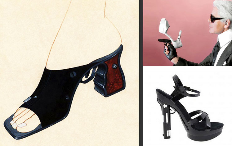 "On the left: sketch of ""gun-shoe"" by Alexander Seraphim, 1995, published on the internet since 1998; on the right: ''gun-shoes'' by Karl Lagerfeld, 2011"