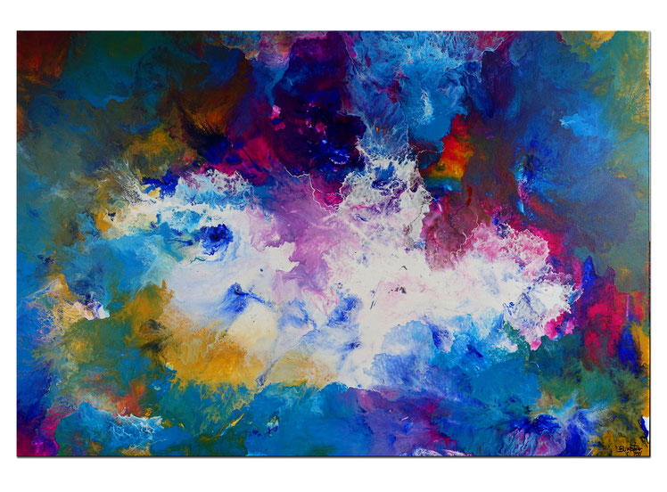 Weltraum abstraktes Wandbild bunte Malerei Leinwandbild 110x110