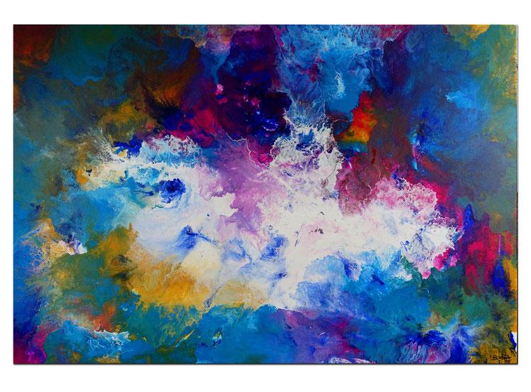 Weiße Taube abstraktes Wandbild rosa blau Original Gemälde Unikat Acrylbild
