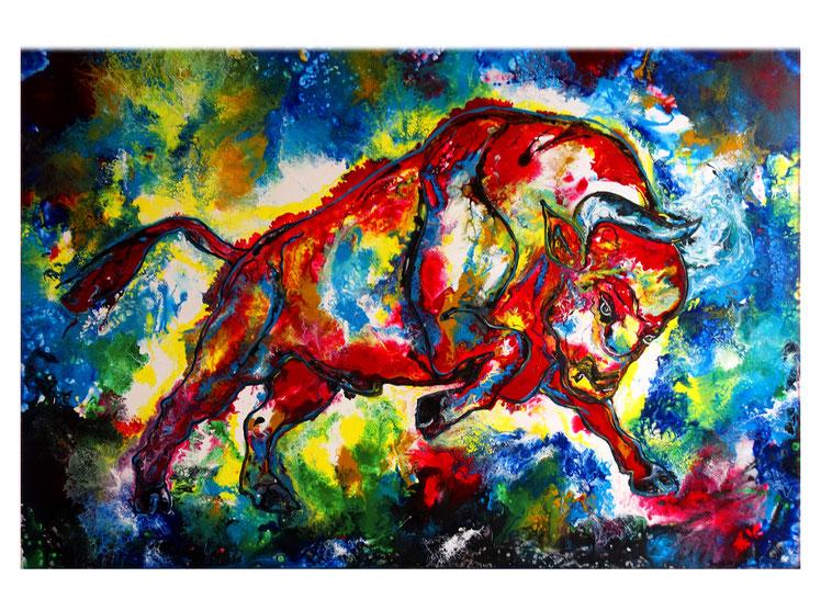 Roter wilder Stier Bulle Wandbild abstrakt Original Gemälde Kunst Malerei 150x100