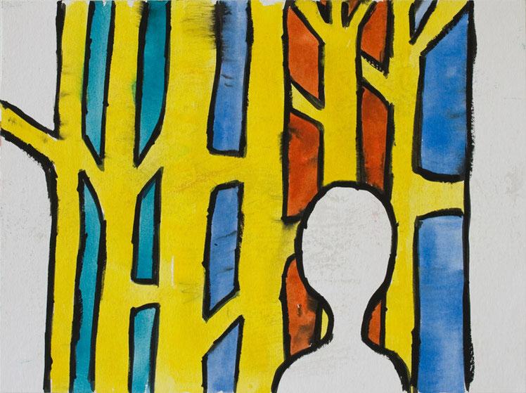 Farbfeld II / 2015 / 30x40 cm / Gouache und Tusche auf Aquarellpapier