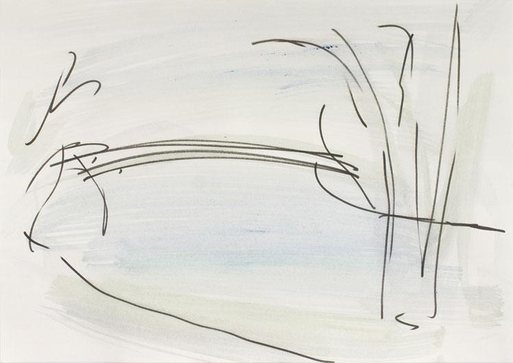 O.T. (Spree1) / 2016 / 21 x 29,7 cm / Gouache und Tusche auf Papier