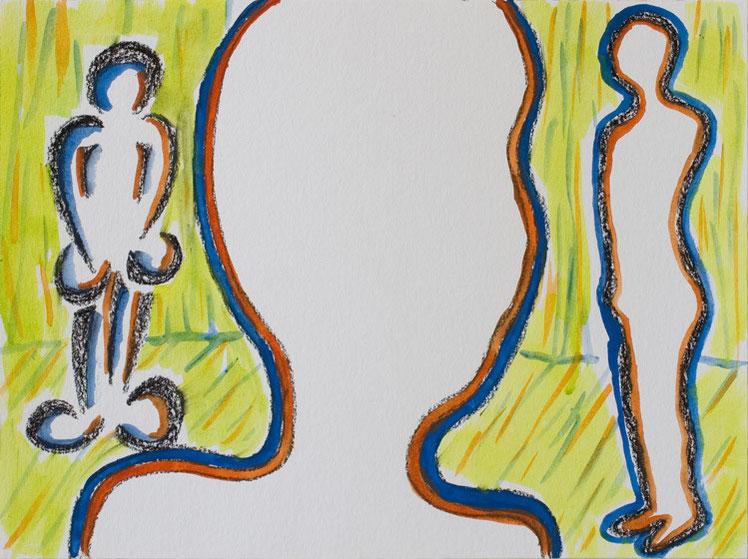 O.T. (gelber Raum) / 2015 / 30x40 cm / Gouache und Kohle auf Aquarellpapier