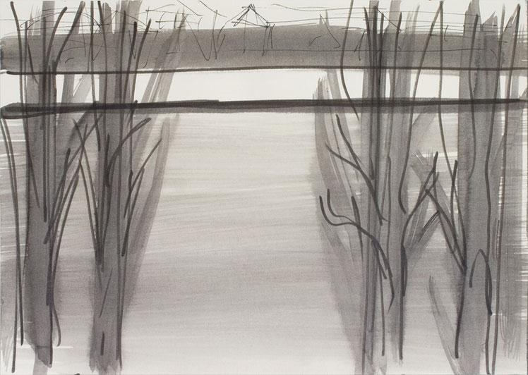 O.T. (Spree3) / 2016 / 21 x 29,7 cm / Tusche und Gouache auf Papier