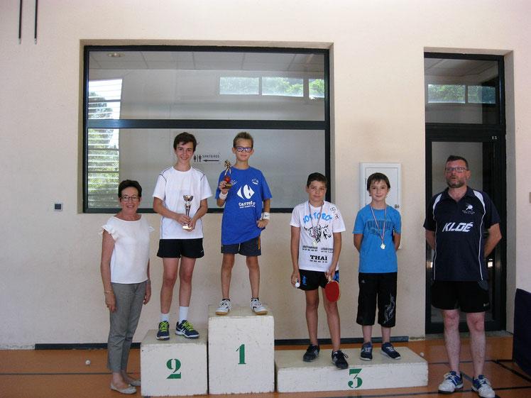 Podium jeunes 30ème tournoi de St-Gély 17-06-17