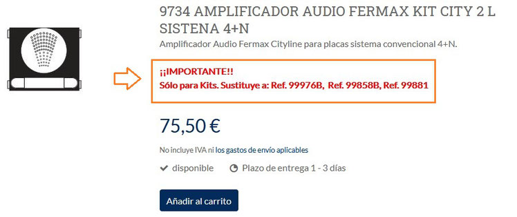 Ejemplo de producto del amplificador audio ref. 9734 de Fermax