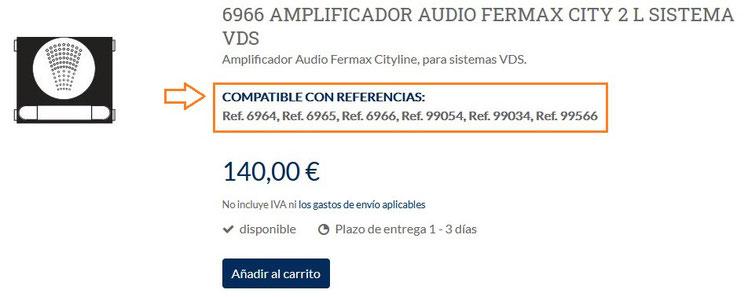 Ejemplo de producto del amplificador audio ref. 6966 de Fermax