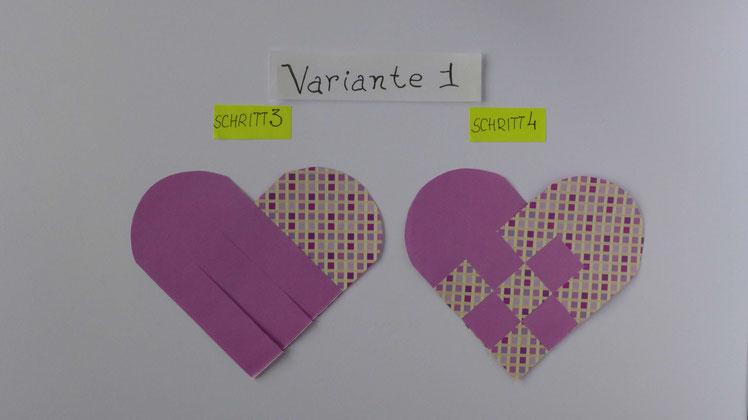 Geflochtenes Herz aus Papier - Schritt 3 und Schritt 4
