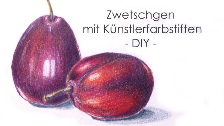 Inspiration - Zwetschgen mit Künstlerfarbstiften malen - DIY-Projekt