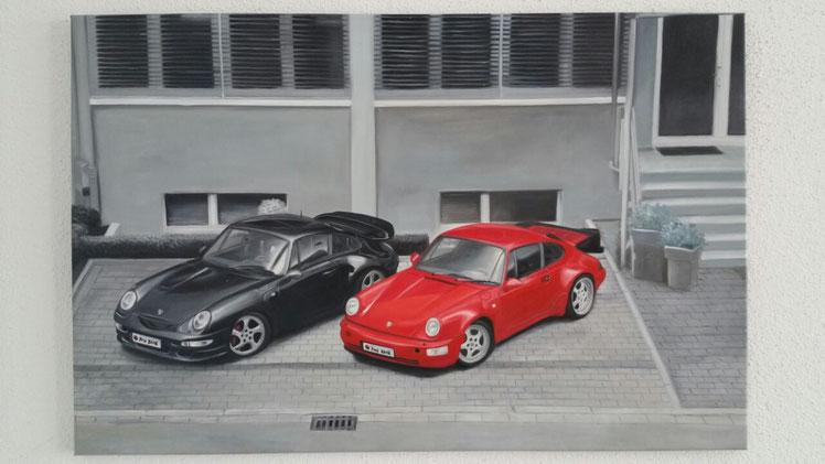 Peinture à l'huile de voitures (photo envoyée par le client, accrochée à son domicile)