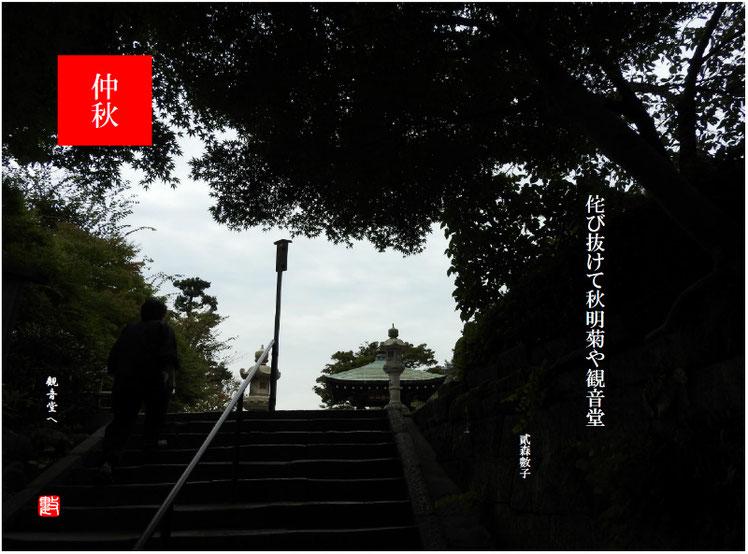 侘び抜けて秋明菊や観音堂 2017/10/15作句 長谷寺にて