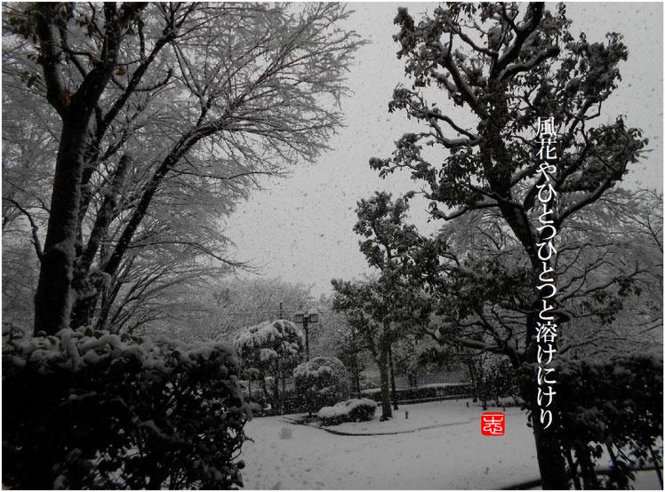 2017/01/02作句 自宅庭 雪