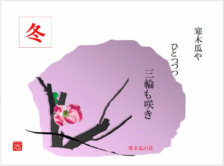 2016/12/25作句 俳画 寒木瓜の花