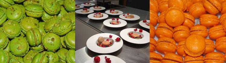 Macarons pistache et clémentine Corse, assiettes dressées par les élèves d'un cours de macarons