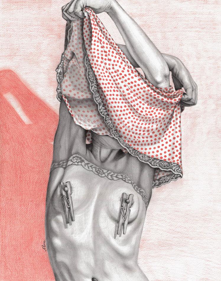 Sophie-Mélody, l'âme soeur du mec de l'histoire, crayons graphites et de couleurs,  50 x 40 cm, 2017