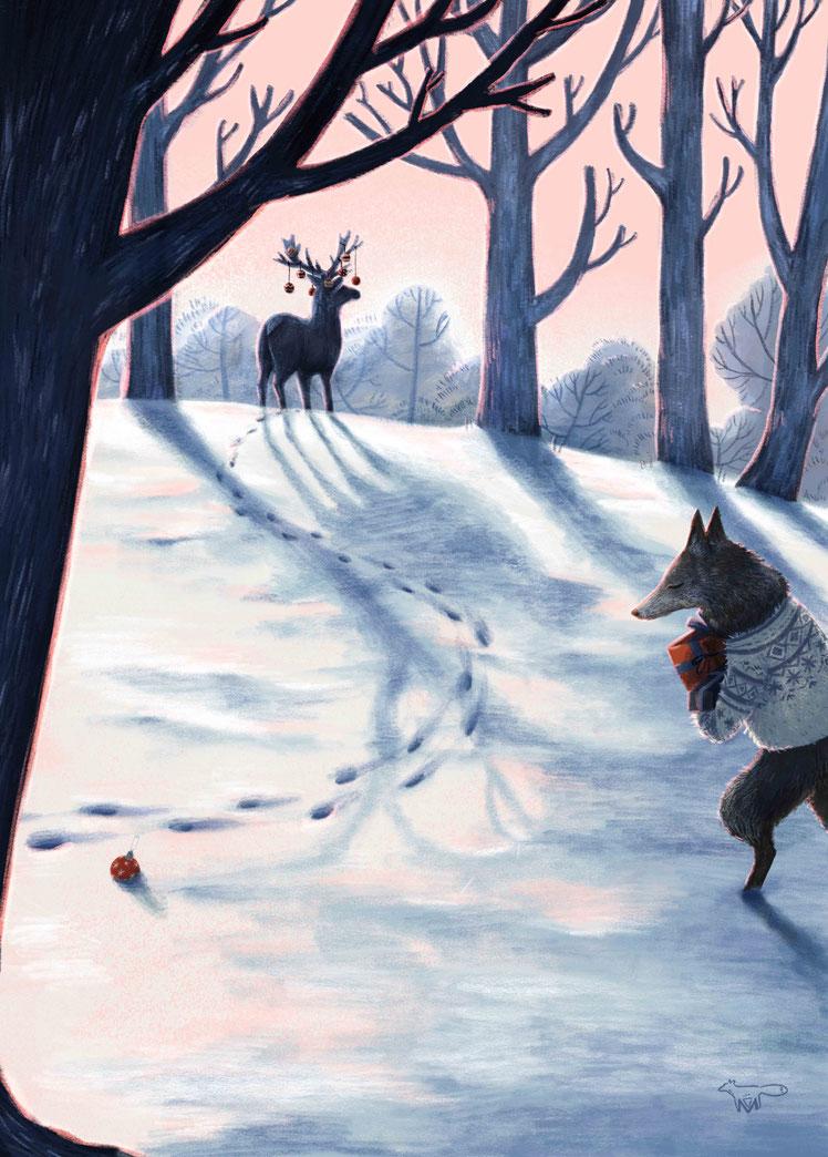 Illustration Mareike Ammersken Romantisch Hirsch Wolf Märchen Schnee Landschaft