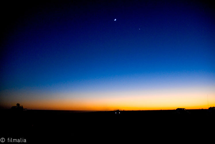 Viajando al norte, parada nocturna. Norte de Mauritania.