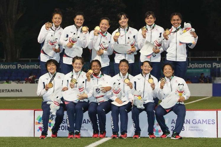 ジャカルタ アジア大会 ラグビー女子セブンズ日本代表 金メダル