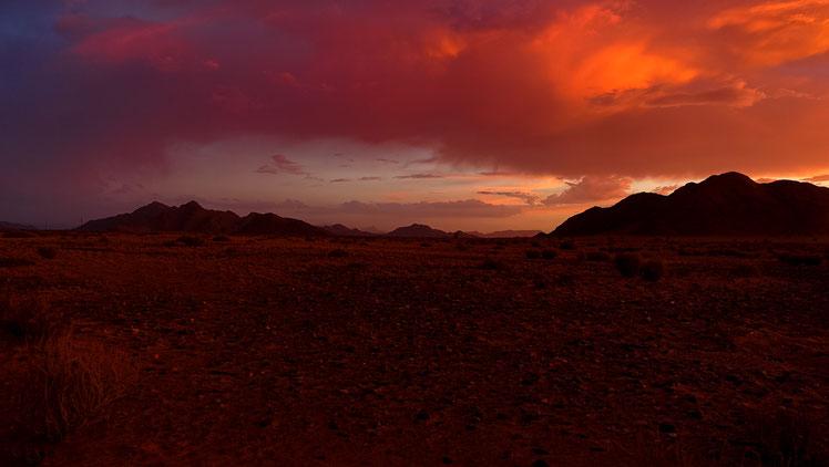Coucher de soleil en Namibie,