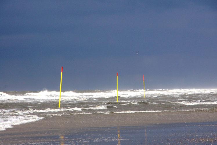 stürmisches Wetter am Strand vom Spiekeroog